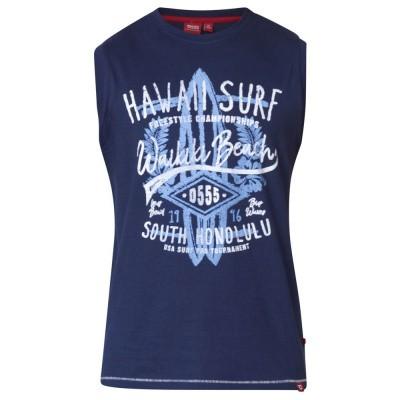 D555 ALOHA KS mouwloos shirt Navy met print