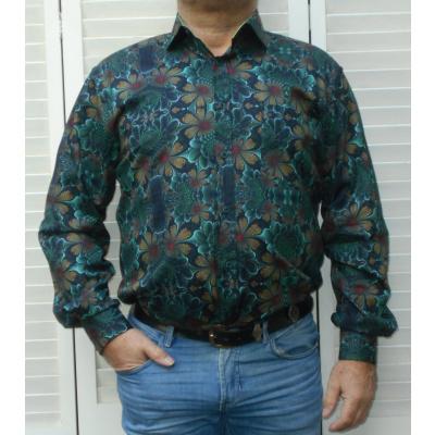 Corrino KS Overhemd zwart gebloemd