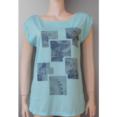 Emoi dames SHIRT 2133 mouwloos in aqua
