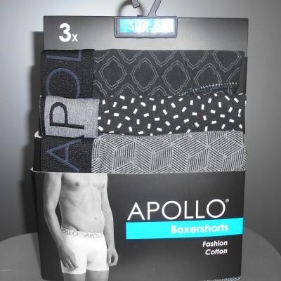 Foto van Apollo BOXERSHORTS 3x zwart / wit