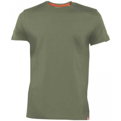 D555 CALLUM KS shirt khaki met ribbed panels op schouders