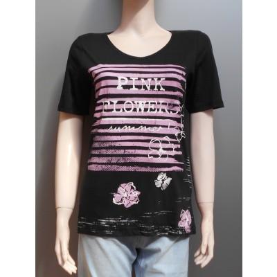 Foto van Blue Seven 105310 shirt V-hals print Black