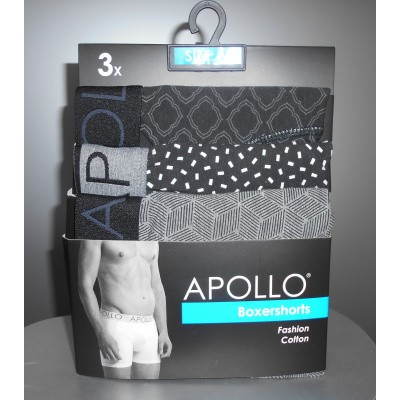 Apollo BOXERSHORTS 3x zwart / wit