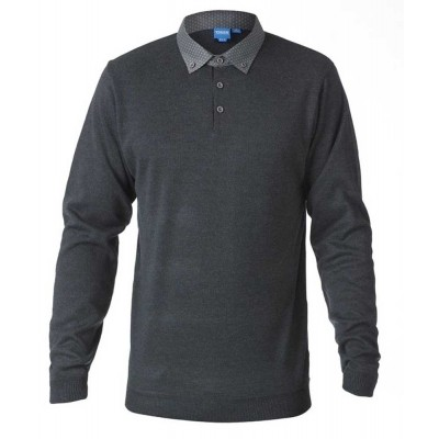 Foto van D555 BENNET KS polo-sweater l.m. melee dark grey