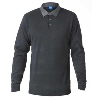 D555 BENNET KS polo-sweater l.m. melee dark grey
