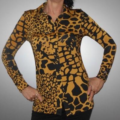 Iz Naiz 3332 BLOUSE dames in giraf oker