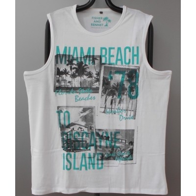 Foto van Fisher and Bennet MIAMI KS Singlet / Hemd in White