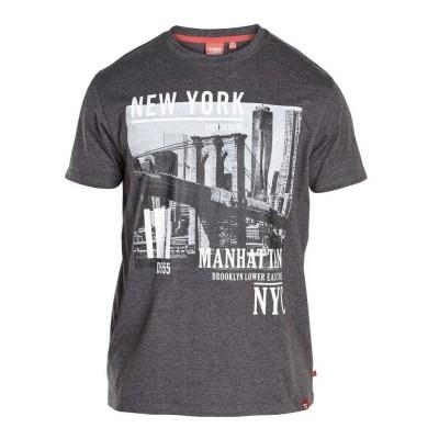 Foto van D555 WESLEY KS T-shirt met print Dark melee grey