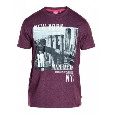 Foto van D555 WESLEY KS T-shirt print Bordeaux melee
