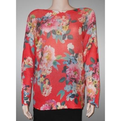 Foto van Iz Naiz dames Shirt coral met bloemen