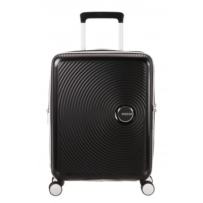 Foto van Handbagage American Tourister Soundbox Spinner 55 Expandable black/white