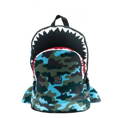 Kinderrugtas Pick & Pack M Shark Shape Camo Light Blue