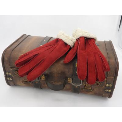 Leren Dameshandschoenen Glove Story Bordeauxrood met polyester voering