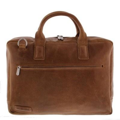 Foto van Plevier Business/laptoptas 2 vaks 17,3 inch 485 Cognac