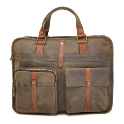 Foto van Barbarossa Ruvido 826-131 Double Section Businessbag Military