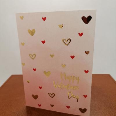 Foto van Valentijnkaart A6 goudfolie hartjes