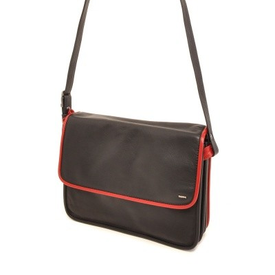 Berba Soft Flap Bag Large Black-Red