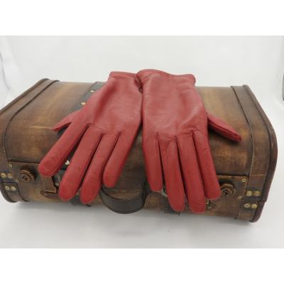 Leren Dameshandschoenen Glove Story Rood met wollen voering