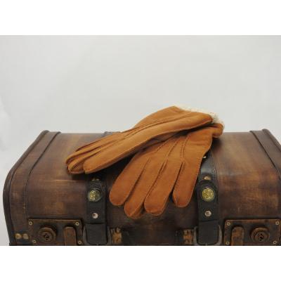 Foto van Leren dameshandschoen van Glove Story met polyester voering Cognac