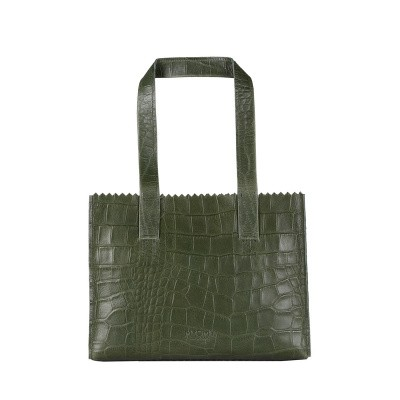 Foto van Handtas Myomy MY PAPER BAG Handbag ­croco vetiver green