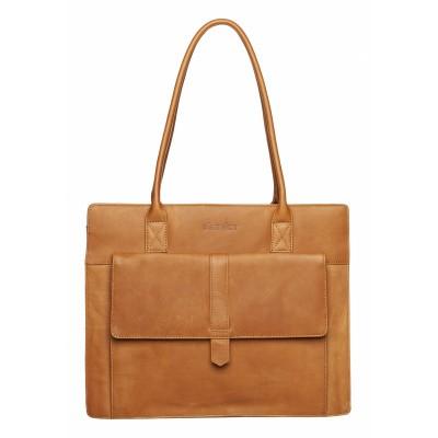 DSTRCT Wax Lane Shopper with Laptop Compartment Cognac