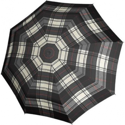 Knirps Paraplu T.703 Stick Automatic Zwart/Wit geblokt