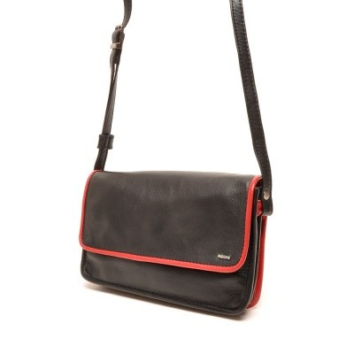 Berba Soft Flap Bag Small Black-Red
