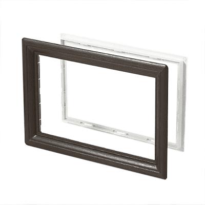 Venster rechthoekig zwart/houtnerf (496 x 330 mm)