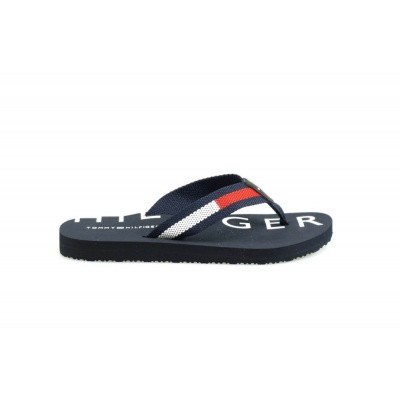 TOMMY HILFIGER DAMES SLIPPERS DONKERBLAUW FLAT BEACH