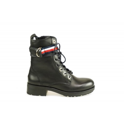 TOMMY HILFIGER DAMES KORTE LAARZEN ZWART CORPORATE RIBBON BIKERBOOT