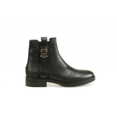 TOMMY HILFIGER DAMES KORTE LAARZEN ZWART INTERLOCK LEATHER FLAT BOOT