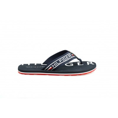 Foto van TOMMY HILFIGER HEREN SLIPPERS DONKERBLAUW SEASONAL STRIPE