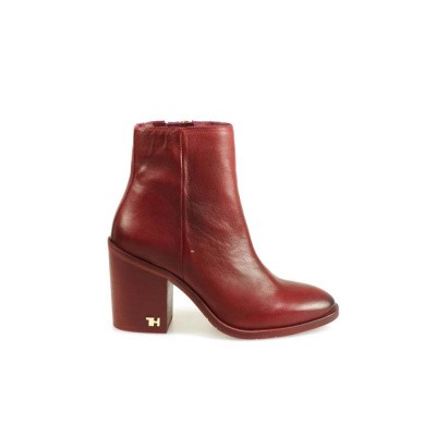 TOMMY HILFIGER DAMES KORTE LAARZEN ROOD MONO COLOR HEELED BOOT