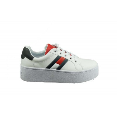 Foto van TOMMY HILFIGER DAMES SNEAKERS WIT/BLAUW JEANS ICON