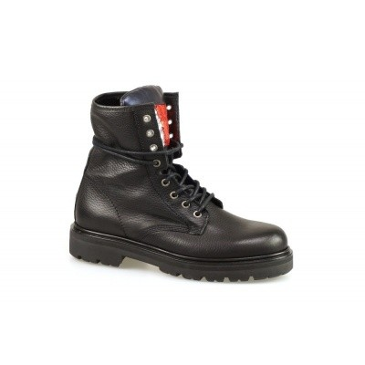 Foto van TOMMY HILFIGER DAMES HALFHOGE VETERSCHOENEN ZWART BIG FLAG SPARKLE BOOT