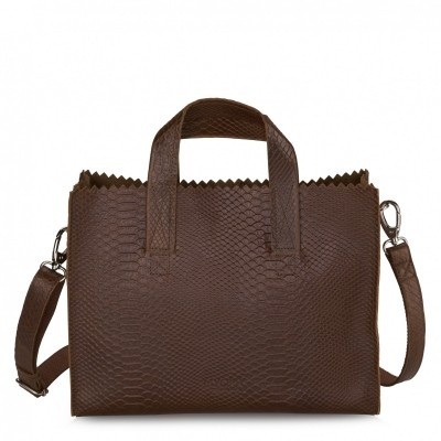 Foto van MYOMY MY PAPERBAG HANDBAG CROSS-BODY ANACONDA BRANDY - TAS
