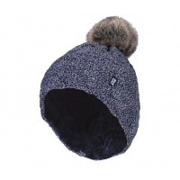 Heat Holders Ladies turnover cable hat with pom pom navy