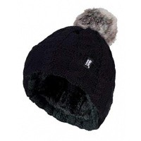 Heat Holders Ladies turnover cable hat with pom pom black
