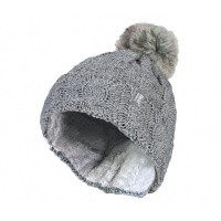 Heat Holders Ladies turnover cable hat with pom pom light grey