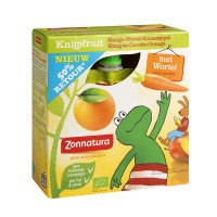 Zonnatura Knijpfruit groente mango/wortel/sinas kikker 85g