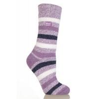 Heat Holders Ladies fashion twist socks 4-8 mulberry