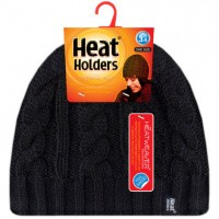 Heat Holders Ladies cable hat one size black