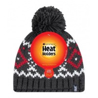 Heat Holders Mens pom pom hat Helsinki charcloal/red