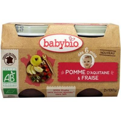 Babybio Dessert appel aardbei 130 gram