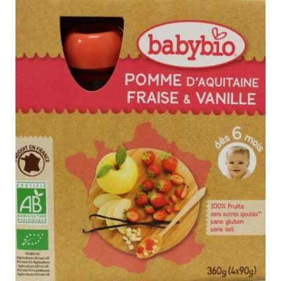 Babybio Vruchtenmoes appel aardbei vanille 90 gram