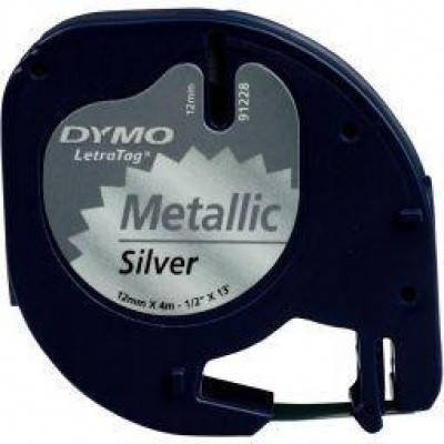 Dymo Letratag tape zilver metallic