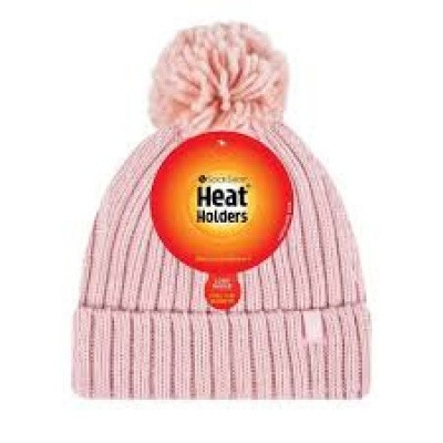 Heat Holders Ladies pom pom hat arden coral one size