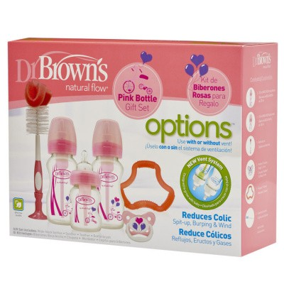 DR Brown's Giftset brede halsfles roze