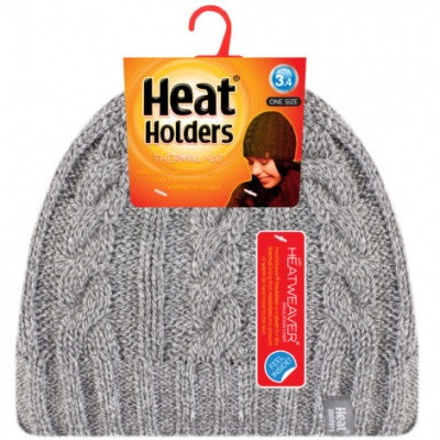 Heat Holders Ladies cable hat one size light grey