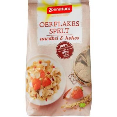 Zonnatura Oerspelt flakes aardbei kokos